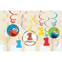 1st Birthday 'Elmo Turns One' Hanging Swirl Decorations (12pc)