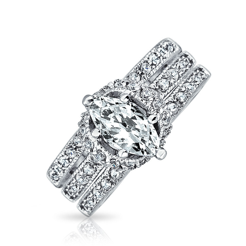 Bling Marquise Pave CZ Engagement Wedding Ring Set 925 Si...
