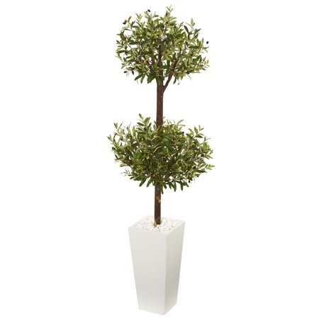 Nearly Natural 5.5 ft. Olive Artificial Double Topiary Tree in White Tower Planter Olive Tree Topiary