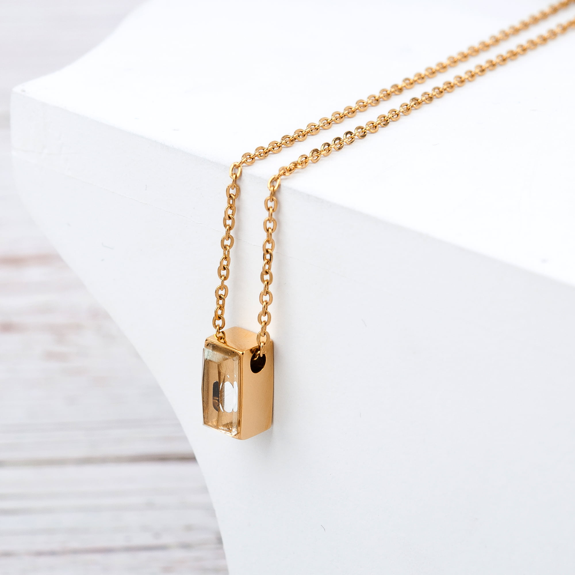 Small Ashes Cremation Gold Necklace