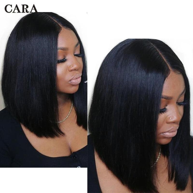 "CARA Short Bob Lace Front Human Hair Wigs 360 Lace Frontal Wig 10"""