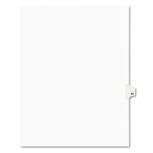 Avery Avery-Style Legal Exhibit Side Tab Divider, Title: 66, Letter, White, 25/Pack
