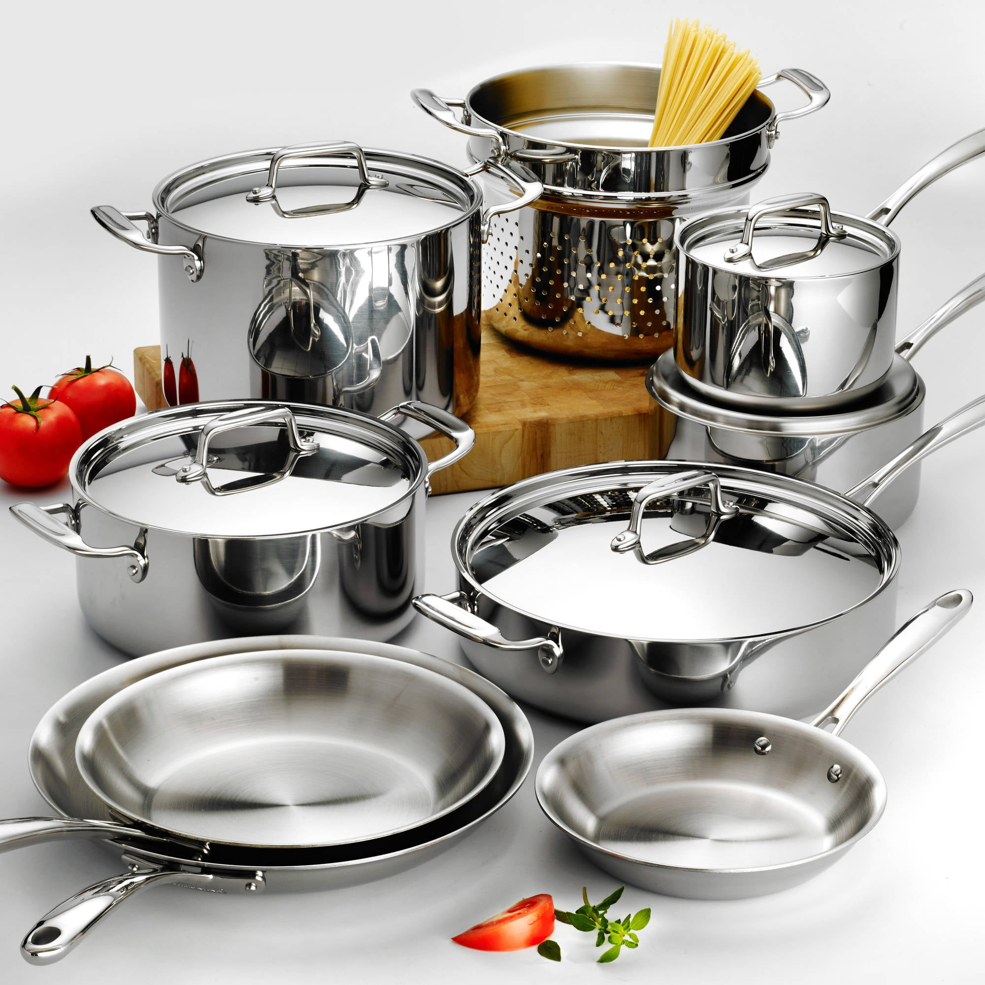 Click here to buy Tramontina 14-Piece Stainless Steel Tri-Ply Clad Cookware Set by Tramontina.