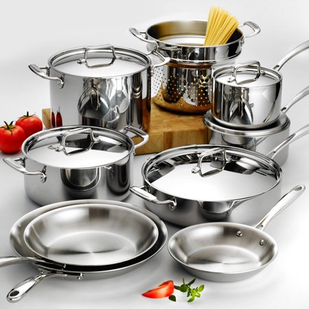 (Tramontina 14-Piece Stainless Steel Tri-Ply Clad Cookware Set)