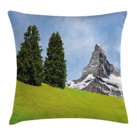 Farmhouse Decor Throw Pillow Cushion Cover, View of Mountain Matterhorn in Peaceful Summer with Sun Rays Meadow Print, Decorative Square Accent Pillow Case, 20 X 20 Inches, Green Blue, by Ambesonne - Ray Of Light Farm Halloween