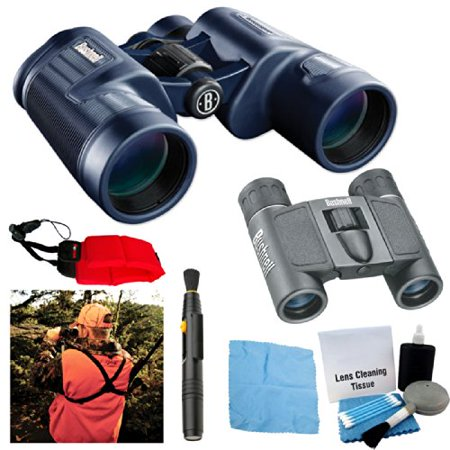 Bushnell H20 10x42mm Binocular Black PowerView 8x21mm Caddy Harness Accessory Bundle