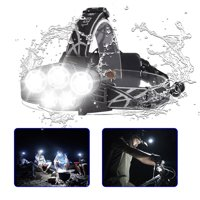 80000LM 5-Modes 5 LED White Super Bright Headlamp Rechargeable Light Waterproof Headlight Flashlight Helmet Light for Camping Running Hiking Night Fishing etc