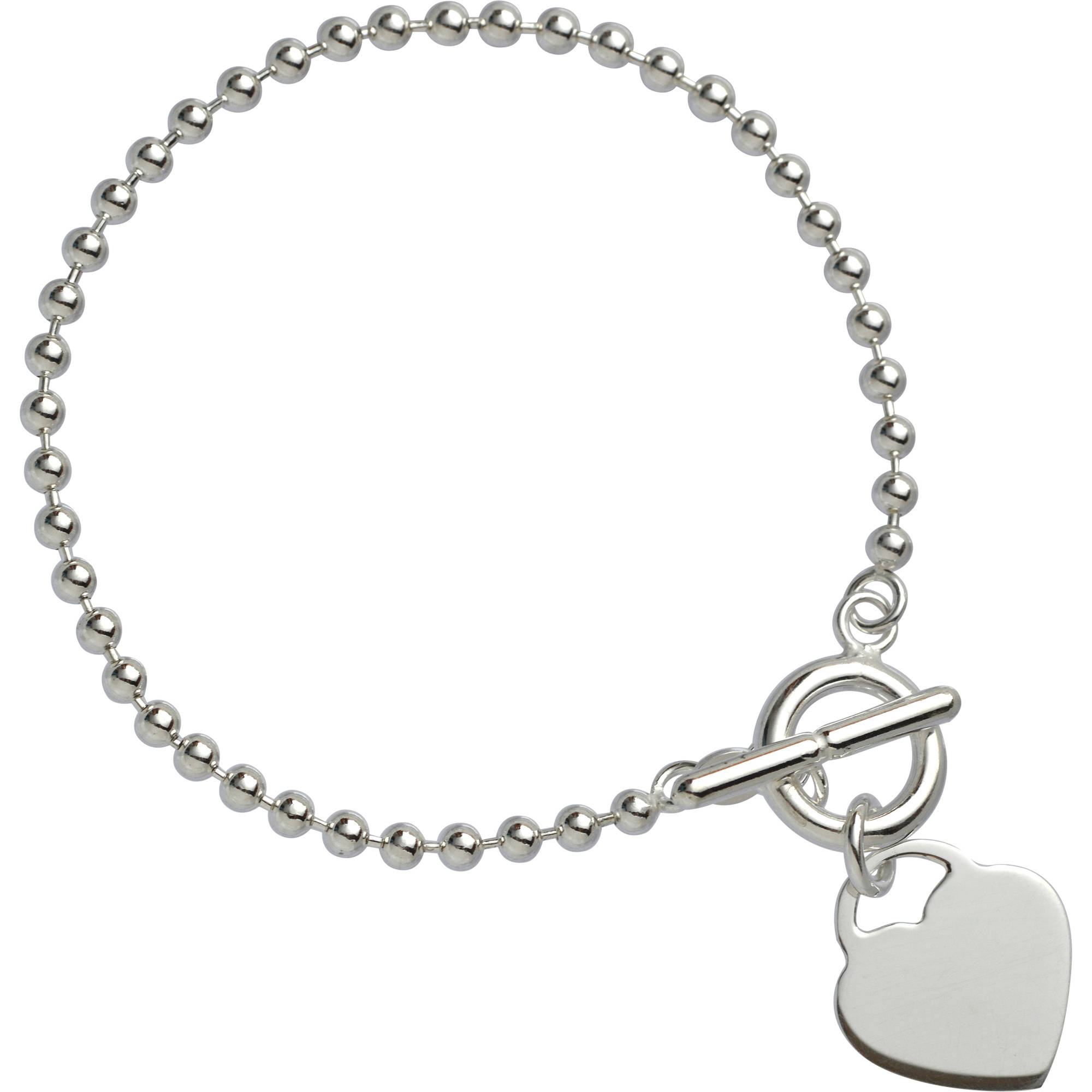 Sterling Silver 3mm Bead with Heart Bracelet on a Glitter Box, 7.5
