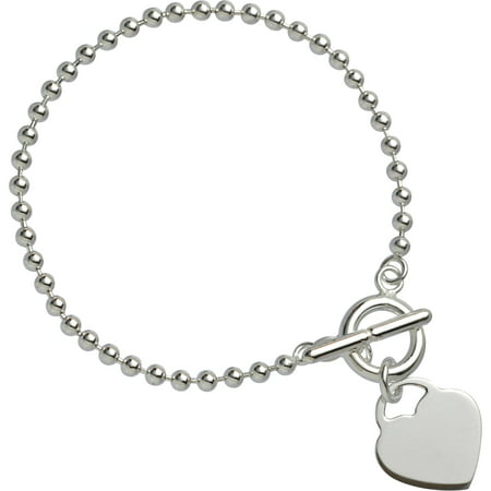 Sterling Silver 3mm Bead with Heart Bracelet on a Glitter Box, 7.5""