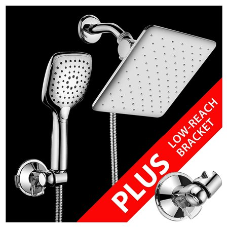 HotelSpa 10.5-in Rain Shower Head / Handheld Combo. Convenient Push-Button Flow Control Button for easy one-handed operation. Switch flow settings with the same hand! Low-Reach Bracket included ()