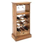 Decmode Wood Wine Cabinet, Brown