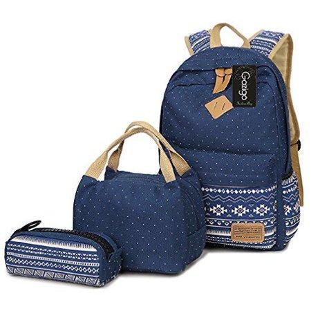 da600725d2da6b Gazigo - Gazigo Geometry Girls Canvas College Laptop Backpack Lunch Bag  Backpacks Women s - Walmart.com