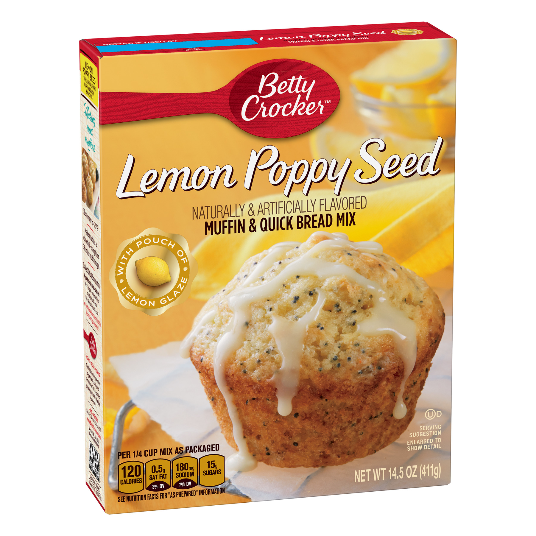 (12 Pack) Betty Crocker Lemon Poppy Seed Muffin and Quick Bread Mix, 14.5 oz