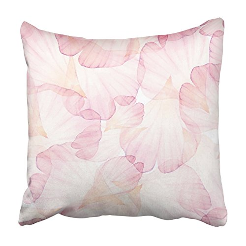 USART White Pastel Watercolor Pink Flower Petal Vectorized Drawing Floral Elegant Pillowcase Cushion Cover 20x20 inch
