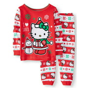 Hello Kitty Christmas Long Sleeve Tight Fit Pajamas, 2pc Set (Baby Girls)