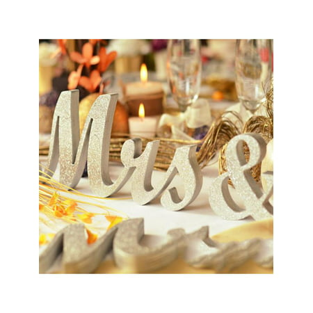 Large Wooden Mr & Mrs Silver Shining Standing Letters Plaque Sign Wedding Engagement Table Decoration Best