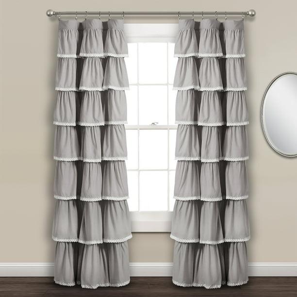 Lace Ruffle Window Curtain Panel Gray 52x84 - Walmart.com - Walmart.com