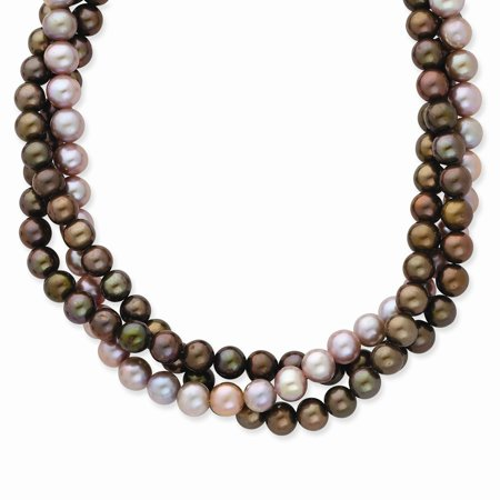 Solid 14k Yellow Gold 6-7mm Brown/Purple FW Cultured Pearl Necklace Chain 18