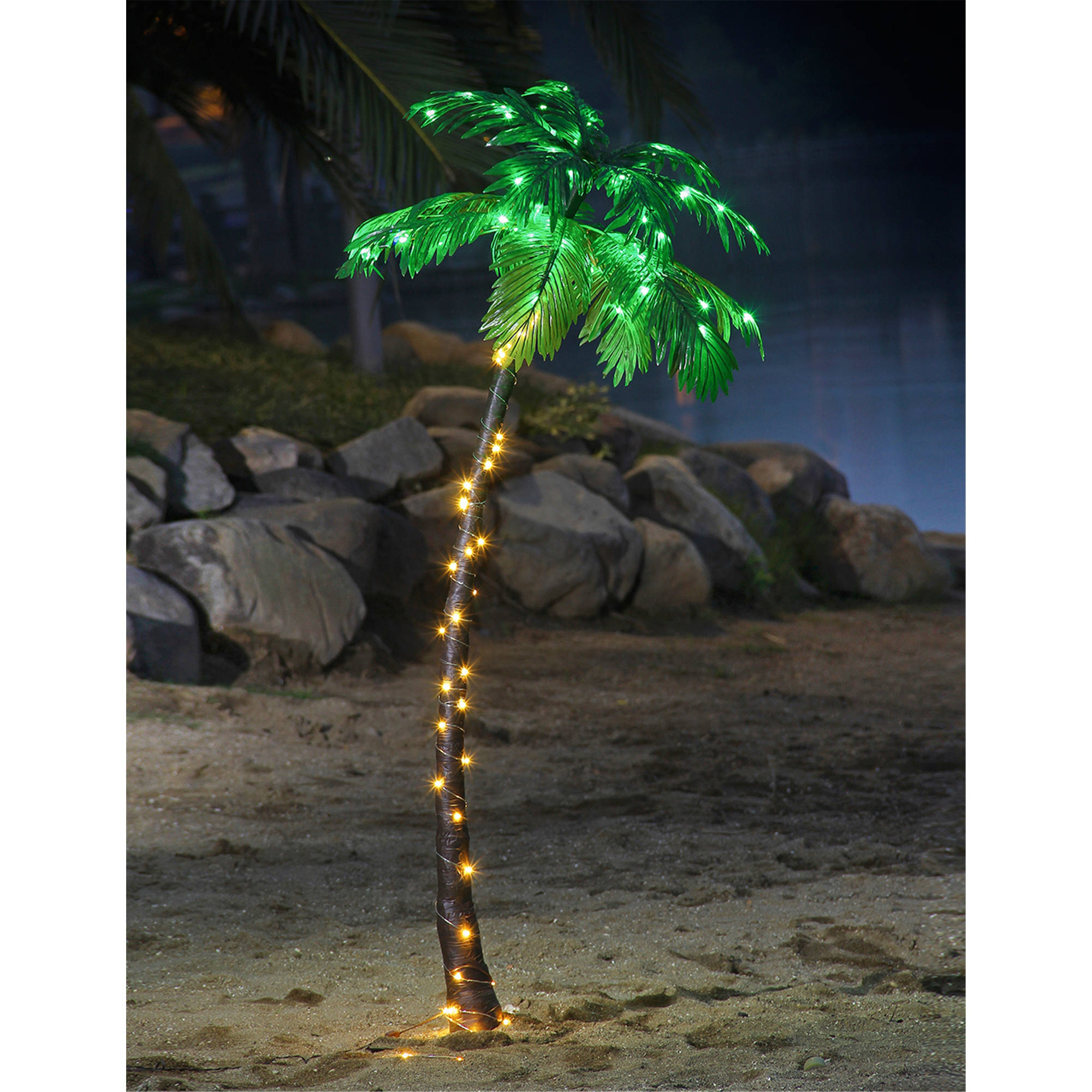 Christmas Lights Palm Trees: Lighted Palm Tree 7 Ft Fake Artificial 96 LED Lights