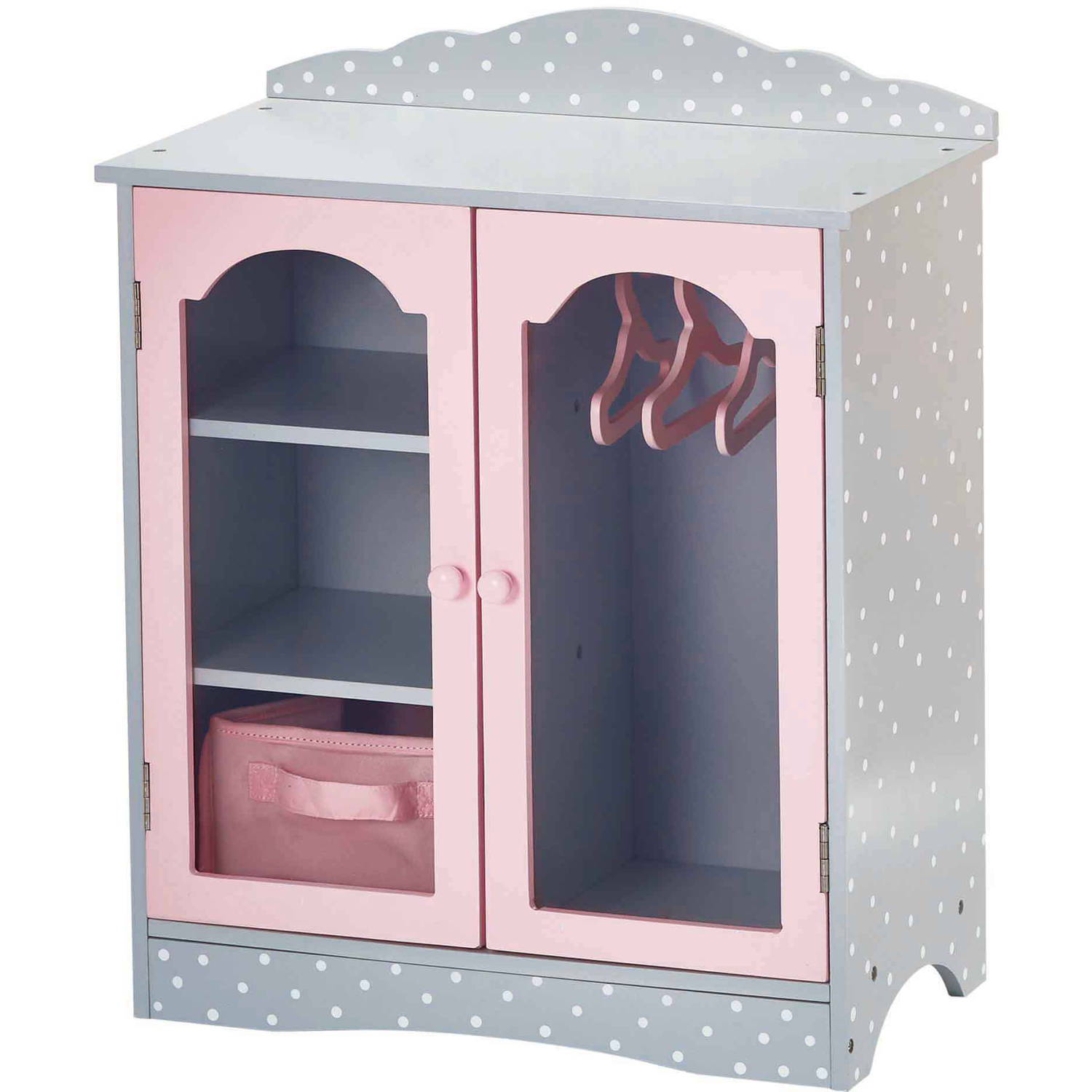 Olivia's Little World 18 inch Doll Furniture Fancy Wooden Closet with 3 Hangers and 1 Cubby (Grey Polka Dots) by Teamson