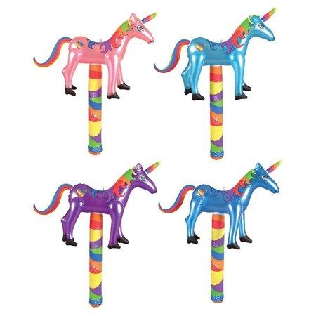 Blue Unicorn Kigurumi (unicorn puppet inflates ~ inflatable unicorns on a stick ~ 4pk ~ assorted colors pink purple blue ~ birthday favor decor pool water play)