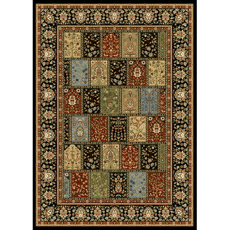- Traditional Persian Oriental Black Patchwork Panel Bordered Area Rug