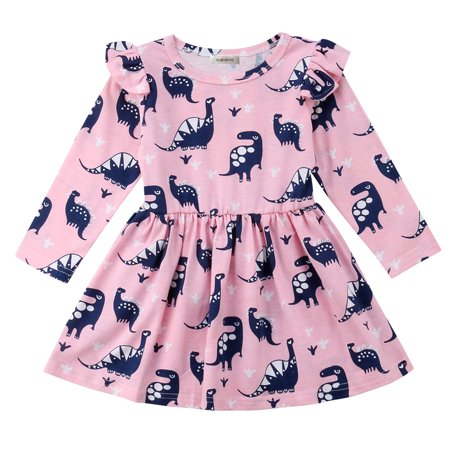 Styles I Love Little Girl Cute Dinosaurs Pink Long Sleeves Ruffle Cotton Dress Spring Casual Oufit (110/3-4 Years)](Dinosaur Outfits)