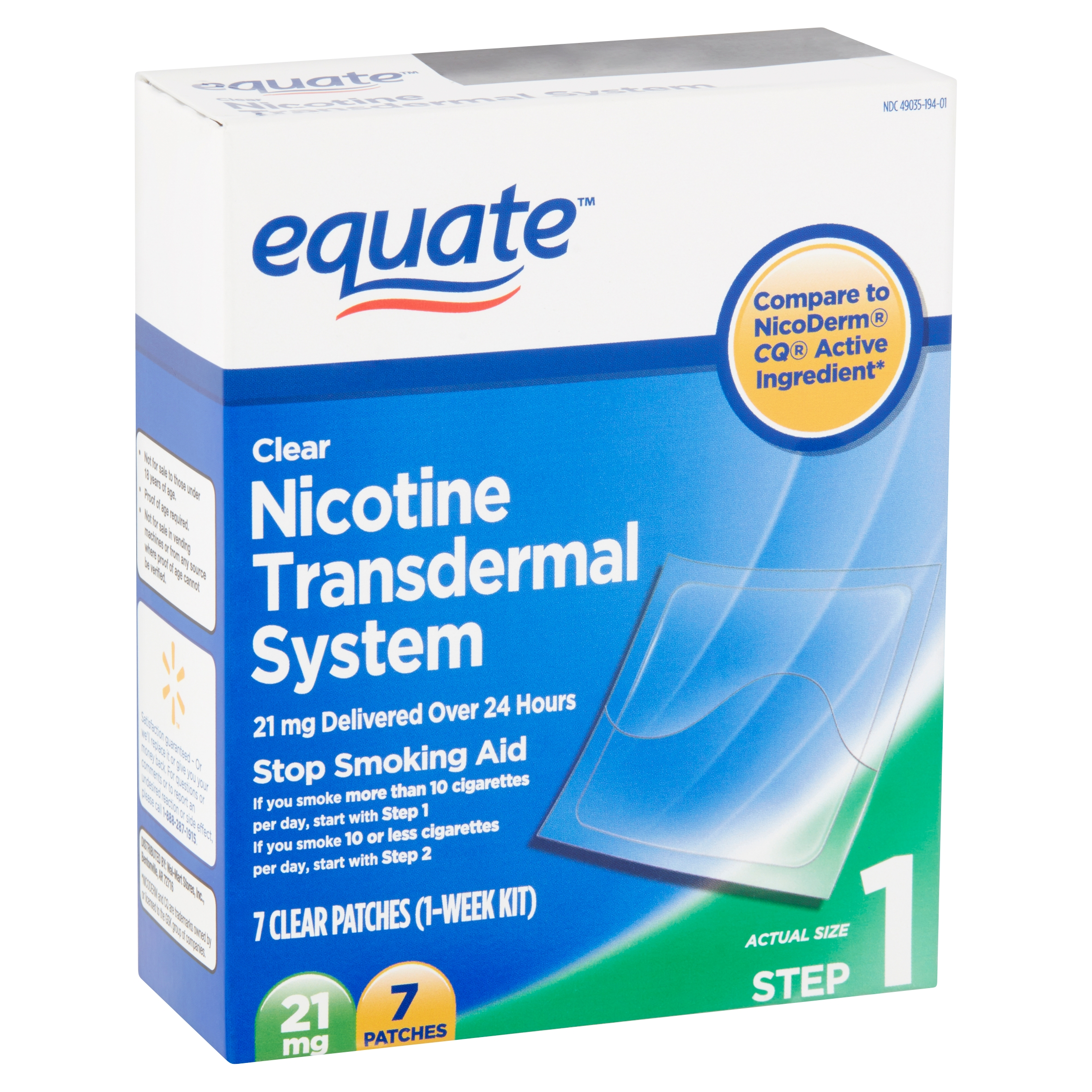 Equate Nicotine Transdermal System Clear Patches, 21 mg, Step 1, 7 count
