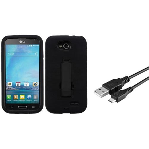 Insten Black/Black Hybrid Stand Heavy Duty Hard Protective Case Cover For LG Optimus L90 D415 (with USB cable)
