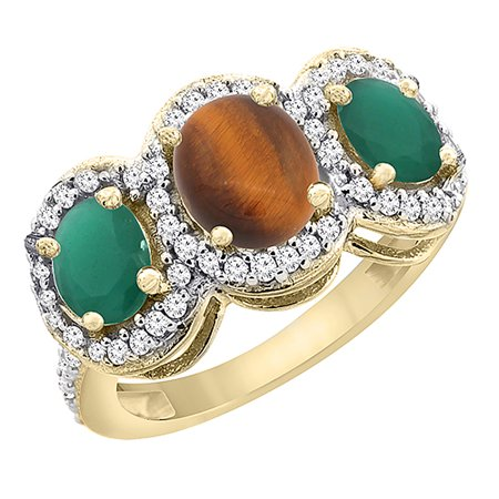 Oval Tigers Eye Cabochon Ring - 10K Yellow Gold Natural Tiger Eye & Cabochon Emerald 3-Stone Ring Oval Diamond Accent, size 6