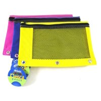 2 Pk, BAZIC Bright Color 3-Ring Pencil Pouch-Mesh Window, Girls