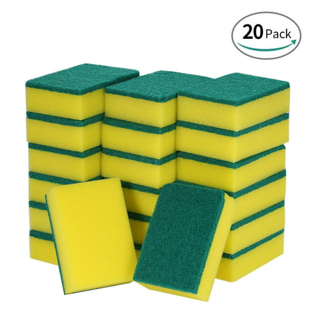 Esonmus 20pcs Multi-purpose Double-faced Sponge Scouring Pads Dish Washing Scrub Sponge Stains Removing Cleaning Scrubber Brush