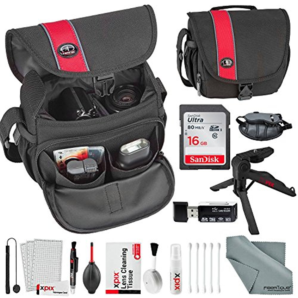 Tamrac 3440 Rally Micro Camera Bag (Black Red) and XPIX Accessory Package with 16GB + SD Reader + Tabletop... by photosavings