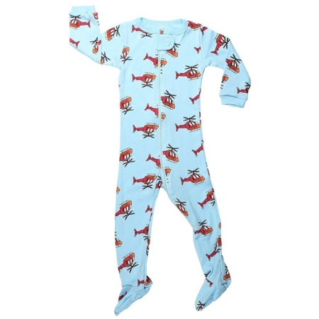 Elowel Little Boys Blue Helicopter Print Zipper Footed Pajama Sleeper 2-5