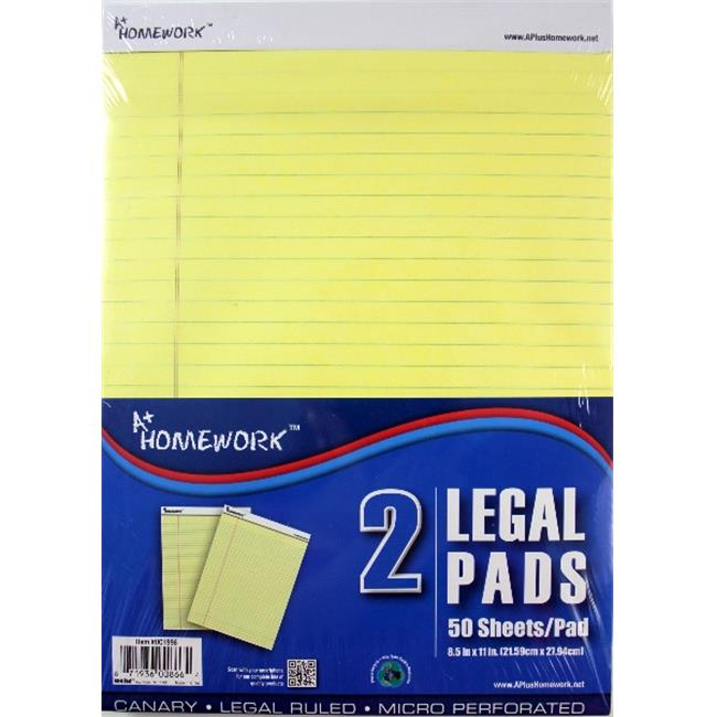 DDI 1221645 Legal Pads - Yellow Paper - 8. 5 inch x 11 inch - 2pk Case Of 36