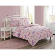 Unicorn Starlight 4-Piece Comforter Set with Decorative Pillow Featuring Bonus Decals