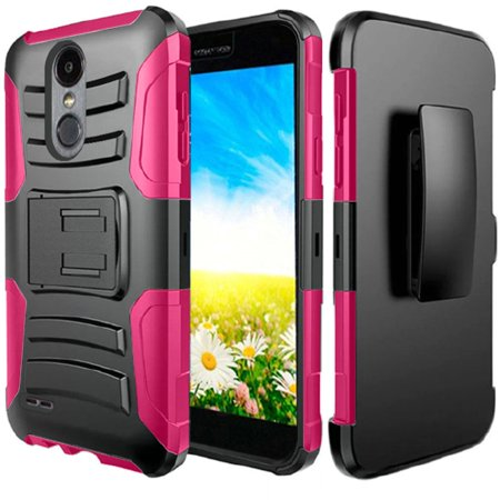 Lg Aristo 2 X210 Tribute Dynasty Holster Case Redshield Pink Black Supreme Protection Hard Plastic On Silicone Skin Dual Layer Hybrid
