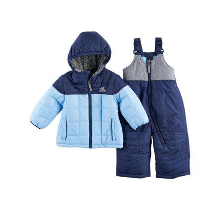 Zero Xposur Infant Boys 2 Tone Blue Snowsuit Baby Snow Bibs & Winter Coat