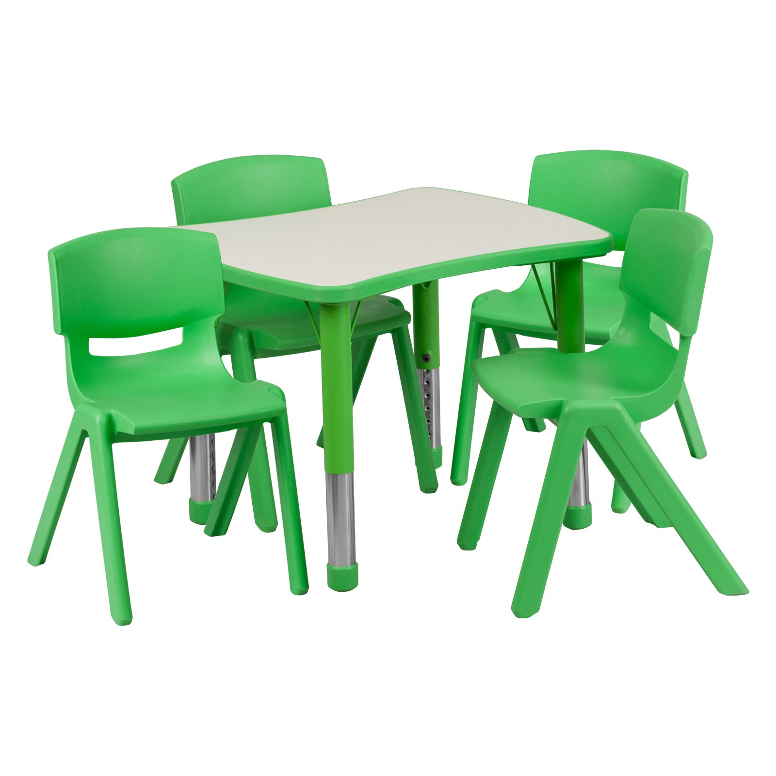 Flash Furniture 21.875''W x 26.625''L Adjustable Rectangular Plastic Activity Table Set in Multiple Colors with 4 School Stack Chairs, Grey