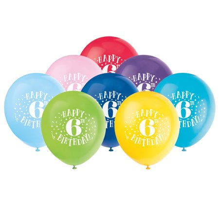 Latex Fun Happy 6th Birthday Balloons Assorted 12 In 8ct