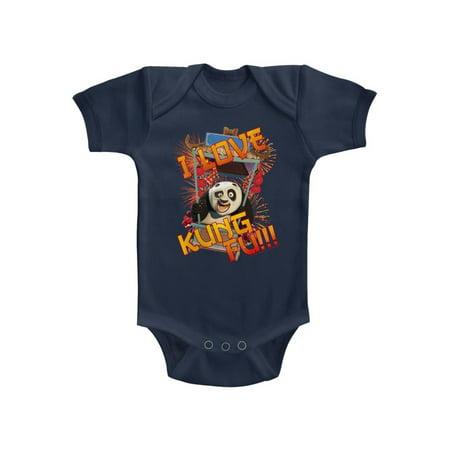 Kung Fu Panda I Love Kung Fu Panda Navy Infant Baby Creeper Snapsuit Romper