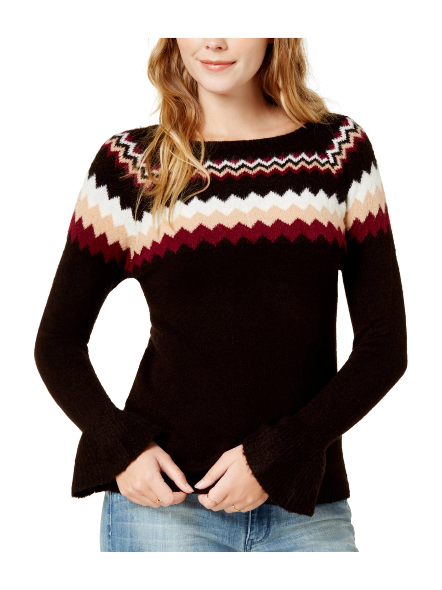 Kensie Womens Knit Fair Isle Pullover Sweater boo M