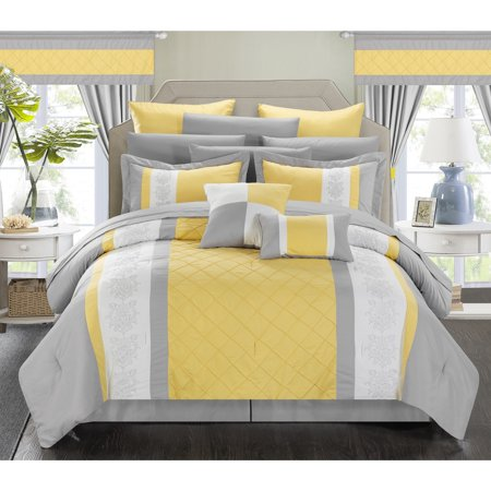 chic home dylania yellow 24 piece bed in a bag with sheet set queen yellow. Black Bedroom Furniture Sets. Home Design Ideas