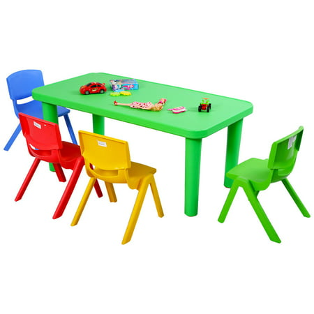 Costway Kids Plastic Table and 4 Chairs Set Colorful Play School Home Fun Furniture - Play School Set