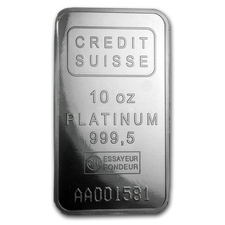 10 oz Platinum Bar - Credit Suisse (.9995 Fine w/Assay)