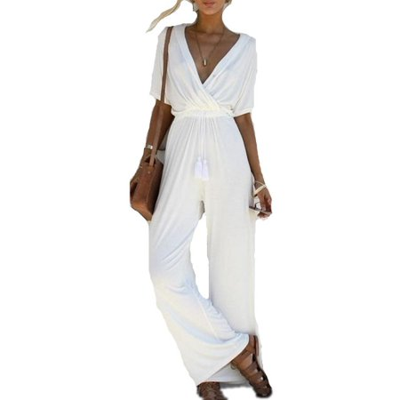 DYMADE Sexy Wrap Deep V Neck Short Sleeve Wide Leg Jumpsuit With Belt Loose Long Romper