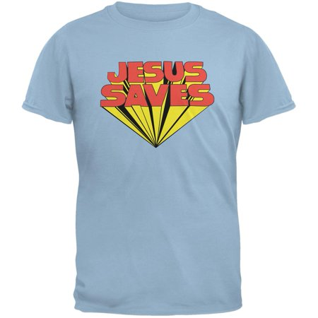 Jesus Saves Inspired By Keith Moon Light Blue Adult T Shirt