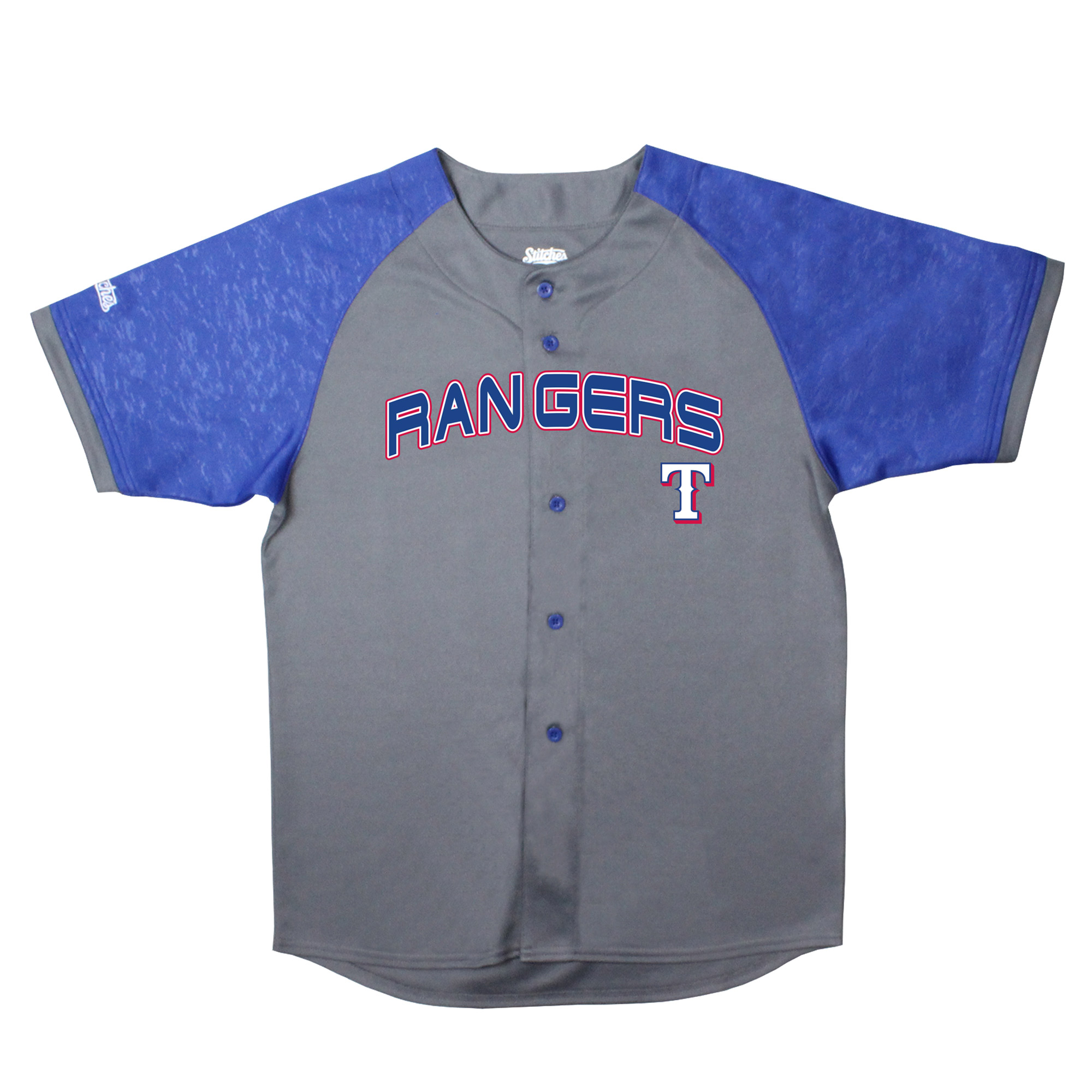 Texas Rangers Stitches Youth Glitch Jersey - Charcoal/Royal
