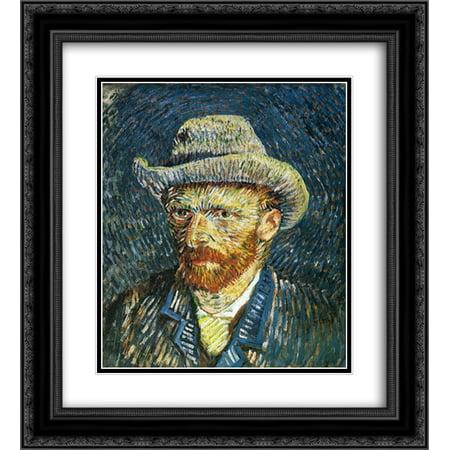 Vincent van Gogh 2x Matted 20x24 Black Ornate Framed Art Print 'Self Portrait with Felt (Vincent Van Gogh Self Portrait With Felt Hat)