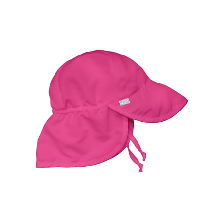 Flap Sun Hat for Baby Girls Sun Protection Large Billed Hat Solid Hot Pink Newborn 0-6 Mths Baby Girl Hat Is Adjustable To Fit Outdoor Hat With Chin Strap and -